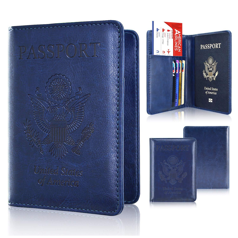 Passport Holder Cover, ACdream Travel Leather RFID Blocking Case Wallet for Passport, Dark Blue