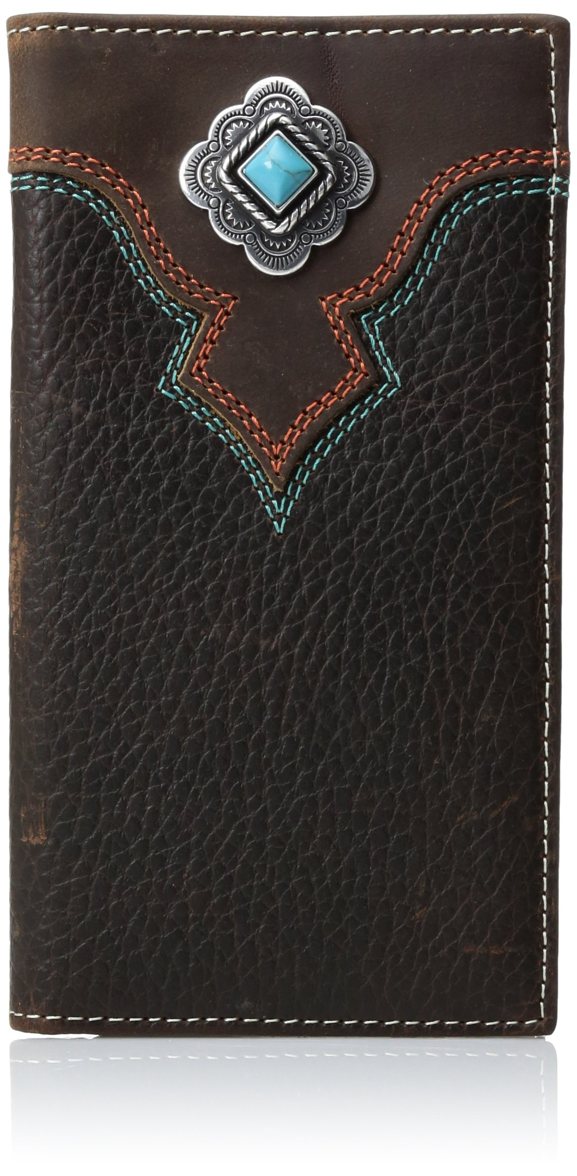 Nocona Men's Multi Stitch Color Tirquoise Rodeo Wallet, Brown, One Size