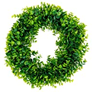 Bhappy Artificial Green Leaves Wreath Eucalyptus Wreath 15 inches for Outdoor Indoor Front Door Home Wall Window Wedding Farmhouse Decor
