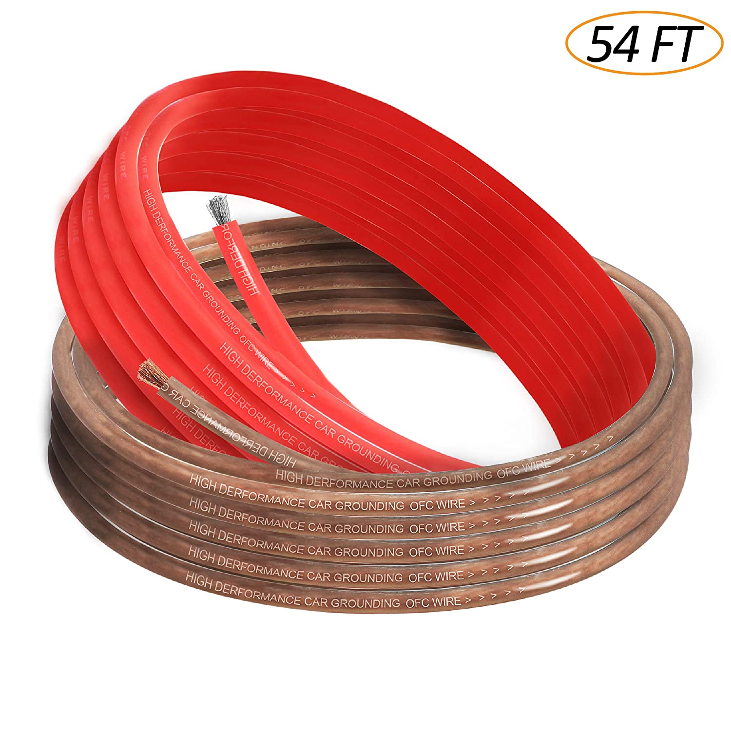 Taigoehua 8 Gauge 27feet Brown and 27feet Red Power//Ground Wire Soft Touch Cable