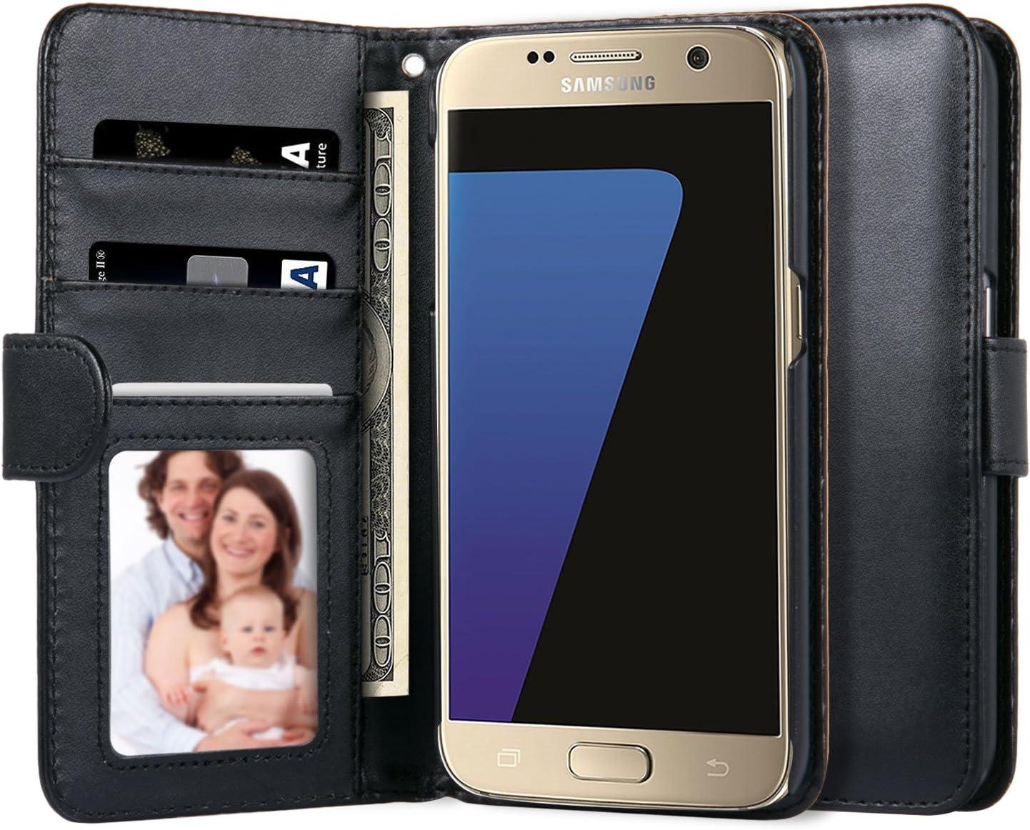 Etui Samsung Galaxy S7, Melojoy Housse Pochette en Cuir à rabat portefeuille support intégré pour Samsung Galaxy S7 (noir)