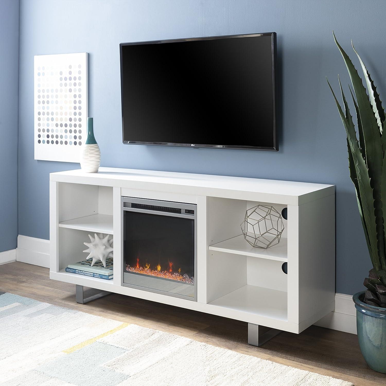 Walker Edison Furniture Simple Modern Fireplace TV Console