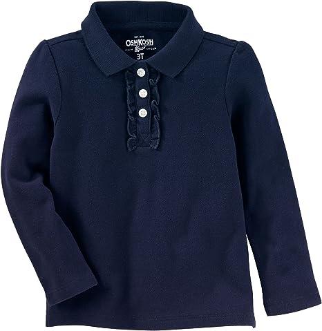 Osh Kosh Girls Long Sleeve Uniform Polo Shirt Pink 2T