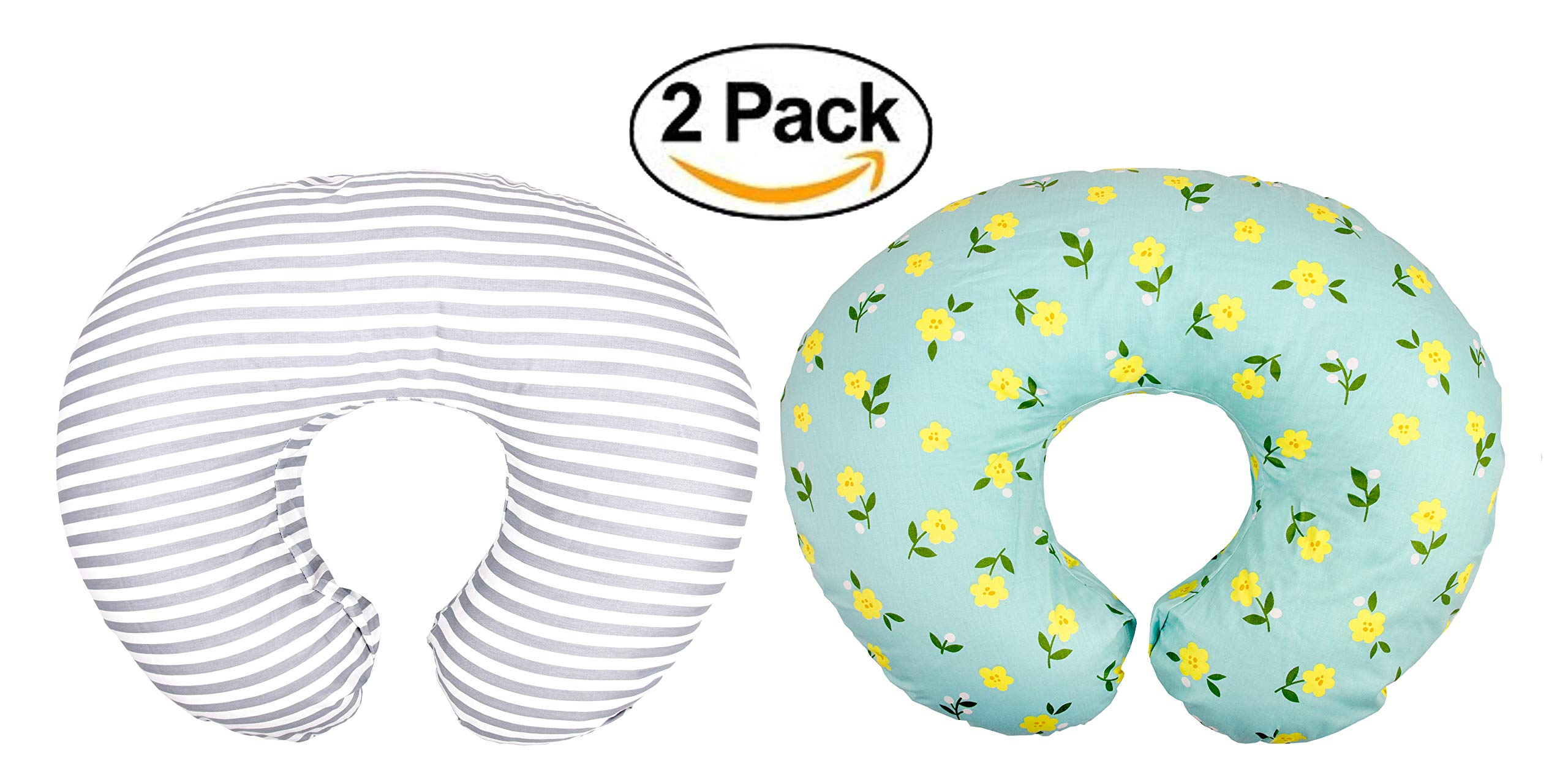 Premium Quality 2 Pack Nursing Pillow Covers by Mila Millie | Baby Girl Chic Flower Design | Gray Stripes Unisex Slipcover | 100% Cotton Hypoallergenic | Breastfeeding | Shower Gift | Fits Boppy