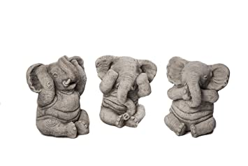 Hand Cast Three Wise Elephants Exclusive Garden Ornaments Made In UK By DGS