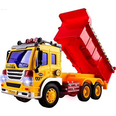 WolVol Friction Powered Dump Truck Toy - Premium Quality Plastic Heavy Equipment Vehicle Toy Battery Operated with Lights & Sounds - Fun Gift for All Occasions for Kids Boys Girls: Toys & Games