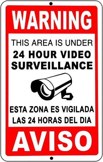 Amazon.com : Video Surveillance Signs 24 Hour Security Camera cctv ...