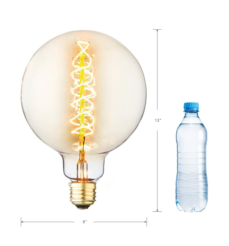 Aspen MLED200 Large Global Style Medium Size 6W 180 lm E26 Edison Antique Vintage Oversize LED Light Bulb with Swirl Filament and 15000 Hour Life