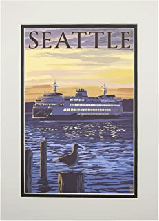 product image for Seattle, Washington - Ferry Sunset and Gull (11x14 Double-Matted Art Print, Wall Decor Ready to Frame)