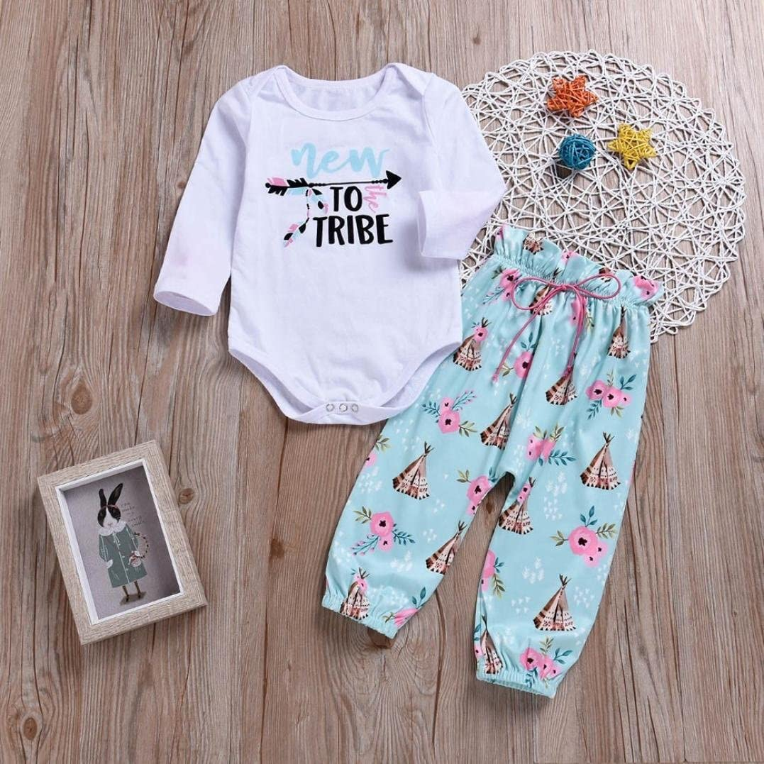 Baby Boy Girl Clothes Set,Newborn Toddler Baby Letter Print Long Sleeves Romper Tops Shirts+Print Pants Outfits