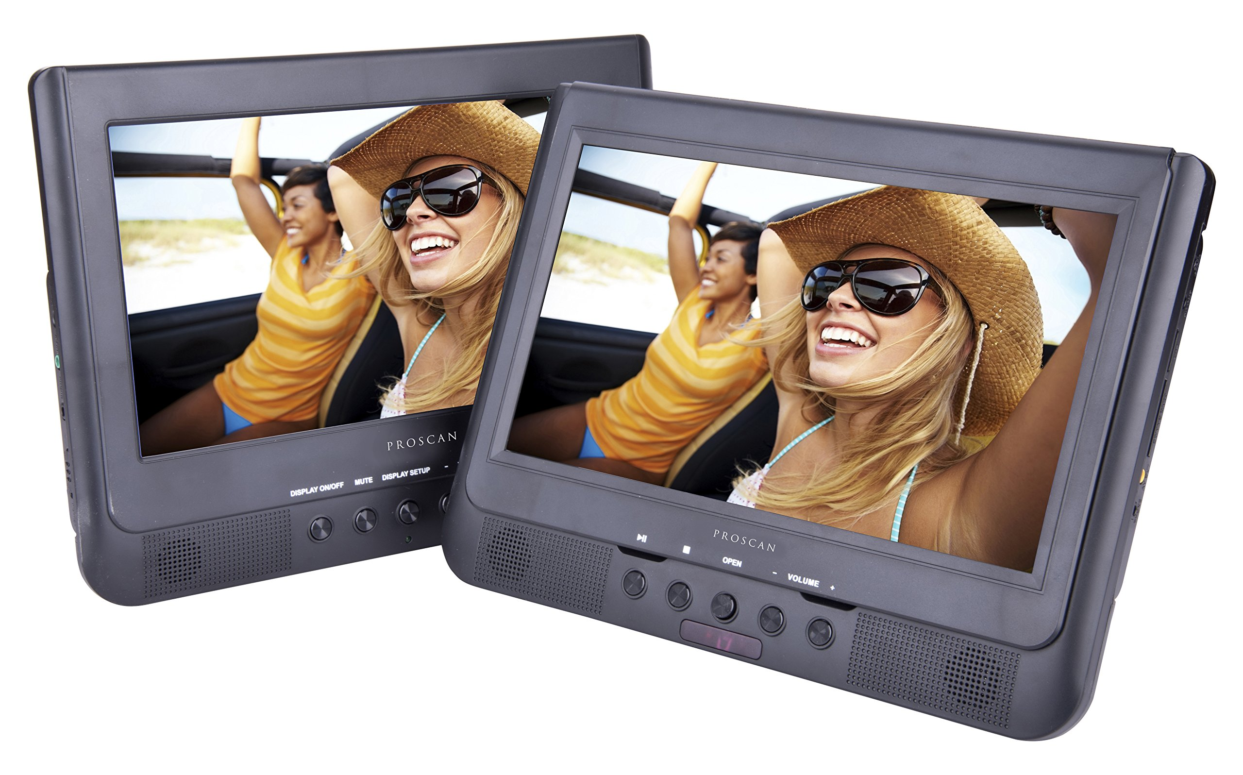Sylvania SDVD1037 10-Inch Dual Screen DVD Player with USB Card Slot, Remote Control and Car Seat Mount
