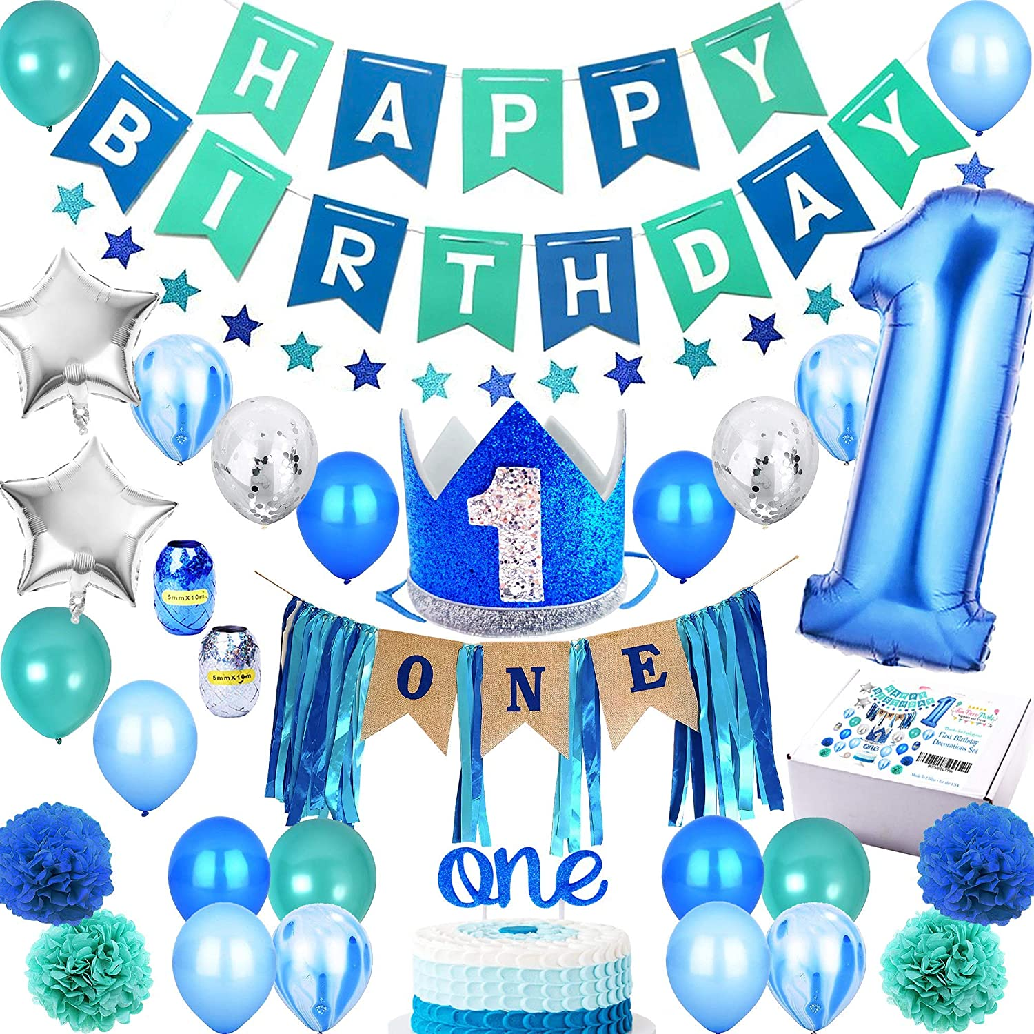 Amazon Com 1st Birthday Boy Decorations Premium Party Supplies Set Royal High Chair Decoration First Baby Boys Prince Blue Crown Hat Happy Bday Banner One Cake Topper Number 1 Year Balloons Boss