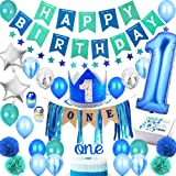 1st Birthday Boy Decorations Premium Set | High Chair Decoration, First Royal Prince Boys Crown Hat, Happy Bday Party Banner, ONE Cake Topper, Confetti, Marble, Foil and Latex Balloons, Star Bunting