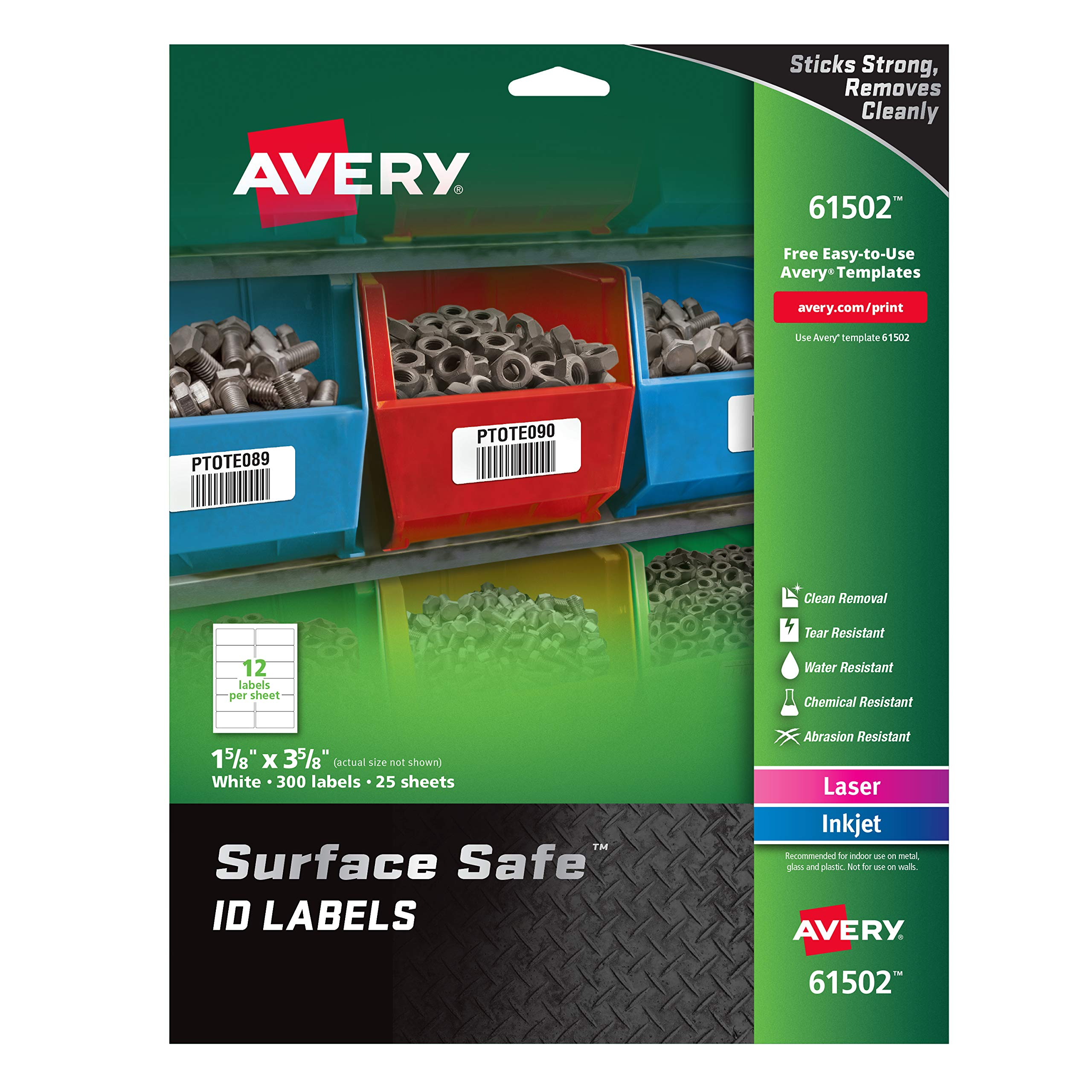 Avery Surface Safe Durable ID Labels, Removable Adhesive, Water Resistant, 1-5/8'' x 3-5/8'', 300 Labels (61502) by AVERY