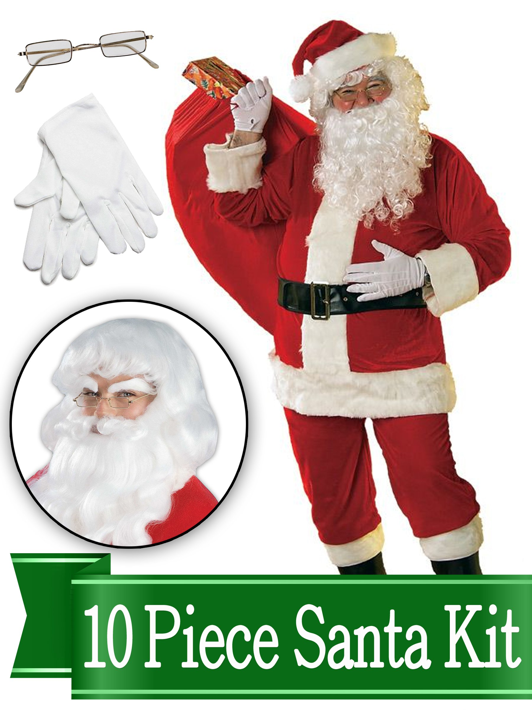 Santa Outfit – Red Ultra Velvet Deluxe - Santa Suit Costume - Complete 10 Piece Kit by BirthdayExpress