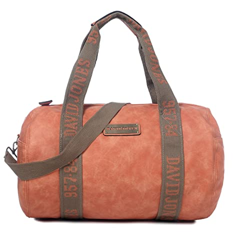 Orange Faux Leather Duffels Weekender Gym Travel Bag for Women on Sale
