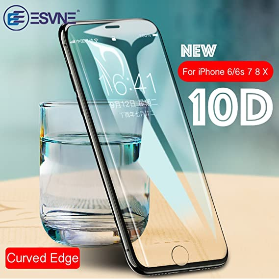 sports shoes ca462 9c26c 10D Full Cover Protective Glass on the For iPhone X 7 glass 8 Plus Curved  Edge Tempered Glass For iPhone X Screen Protector (Black, For iPhone 8 Plus)