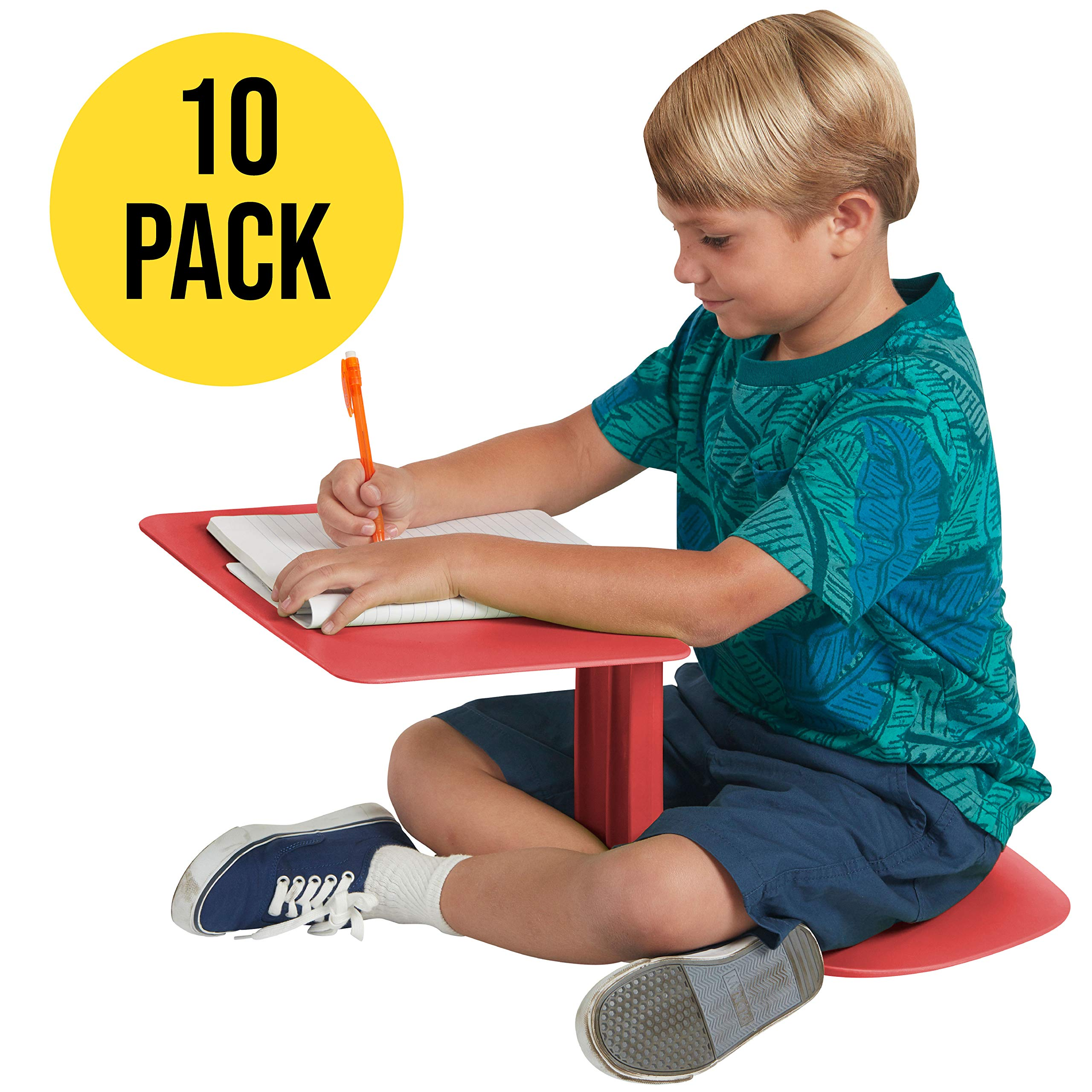 ECR4Kids The Surf - Portable Lap Desk/Laptop Stand/Writing Table, Red (10-Pack) by ECR4Kids