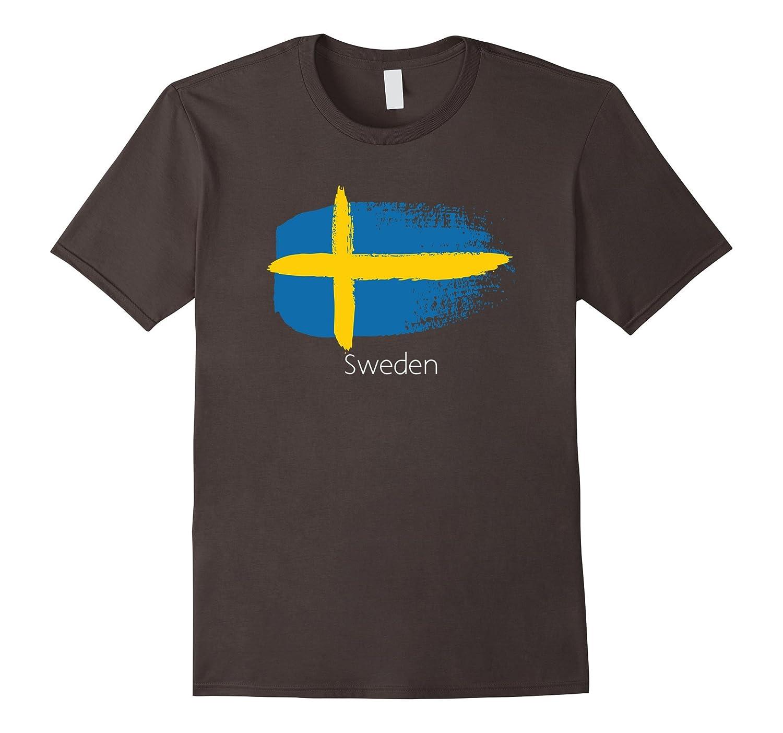 Sweden Flag Brush Stroke Graphic T-Shirt-Loveshirt