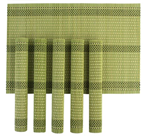 Hokipo Wooden Dinner Table Kitchen Placemats Set, 6 Piece, Green <span at amazon