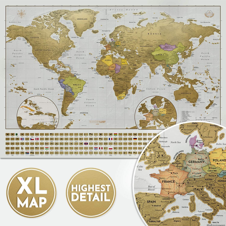 Mapa Rascar edición XXL - Un mapamundi extragrande personalizado y todas las banderas del país. El paquete de regalo incluye una herramienta para rascar con precisión y pegatinas de recuerdo de viajes: