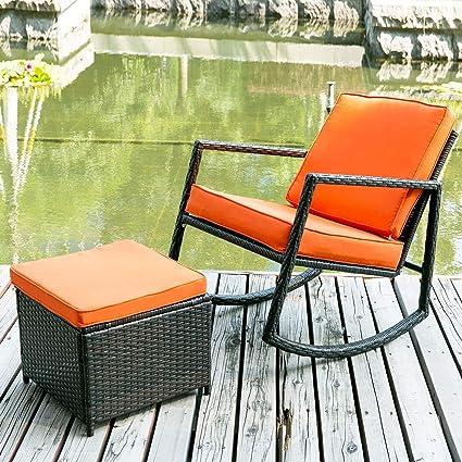 Remarkable Merax Wf036008Gaa Patio Wicker Rocking Armed Outdoor Garden Lounge Ottoman Cushion Orange Rattan Rocker Chair Inzonedesignstudio Interior Chair Design Inzonedesignstudiocom