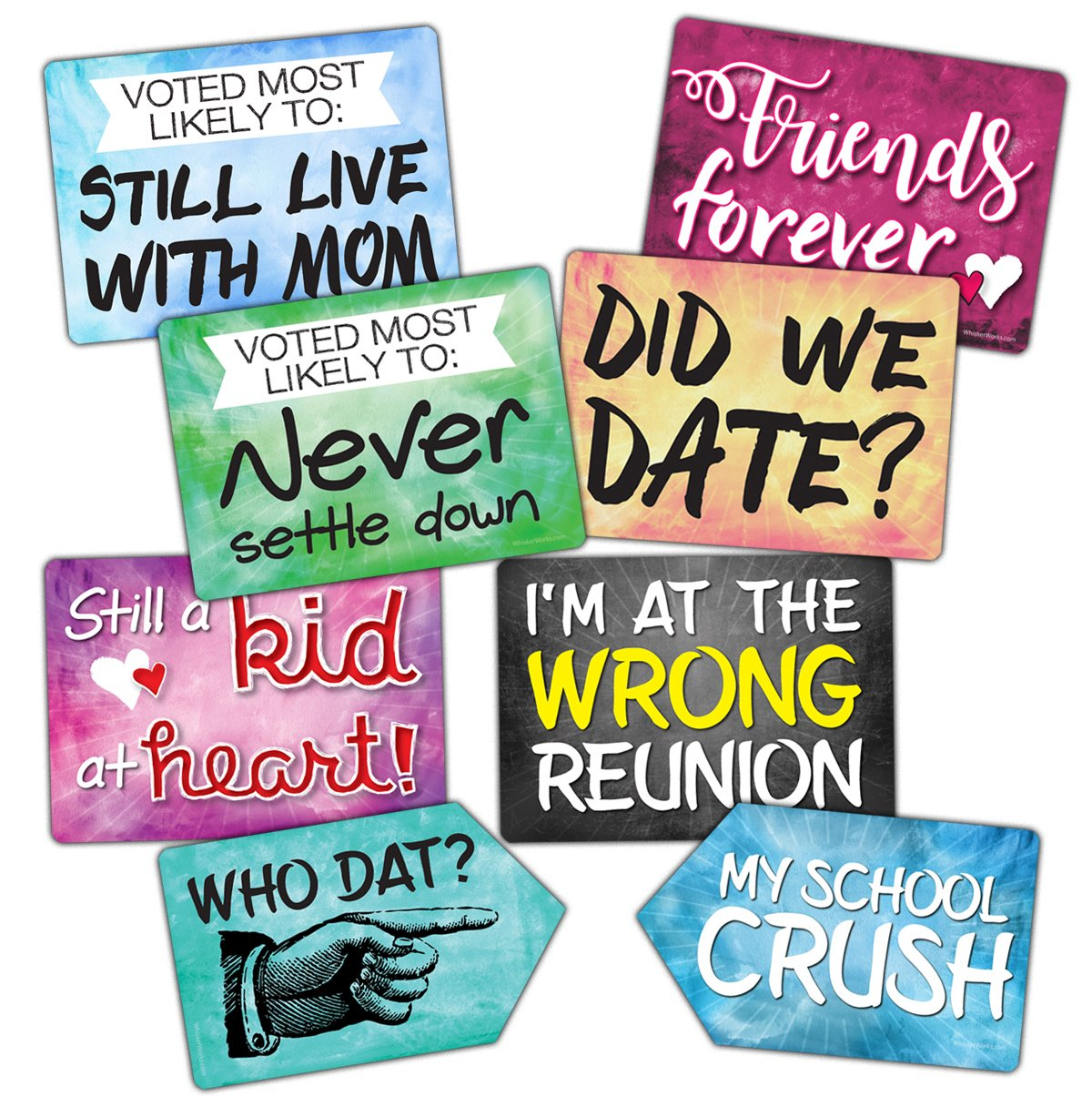 Plastic Photo Booth Prop Signs - Set of 8 Phrases - REUNION Mix - High School or College Class Reunions