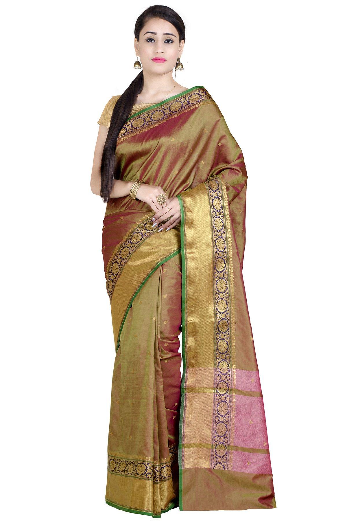 Chandrakala Women's Mehndi Green Art Silk Banarasi Saree(1286MEH)