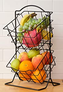 2-Tier Fruit Basket, Kitchen Countertop Fruit Storage Holder for Fruits, Veggies, Snacks Items, Black DECLUTTR