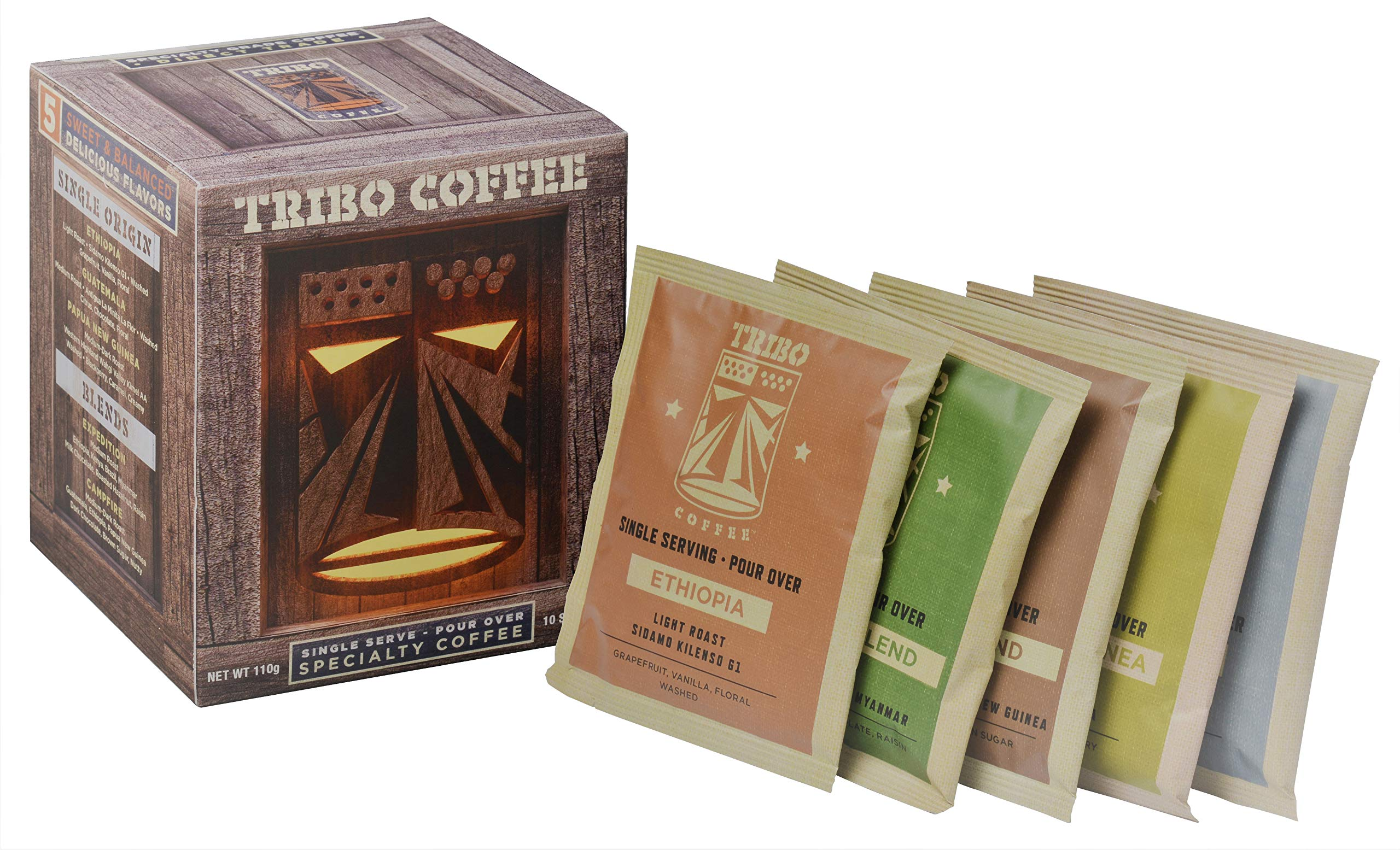 TRIBO COFFEE Single-Serve Portable Pour Over Drip Coffee | Specialty Grade | Small Batch Roasted - Variety | 10 Servings Per Box (Light, Medium & Med-Dark Roasts)