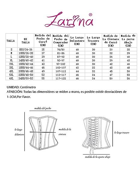 FARINA 819 Corsé Lace Up Boned Overbust Corset Bustier Waist Trimmers con Talla S-6XL: Amazon.es: Ropa y accesorios