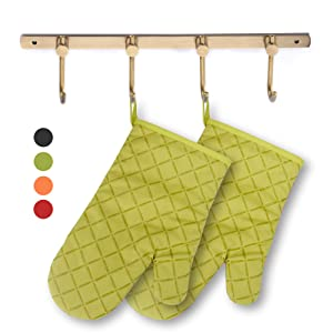 ETECHMART Cotton Oven Mitts with Silicone Heat Resistant Quilted Microwave Gloves for Baking and Kitchen One Pair (Green)