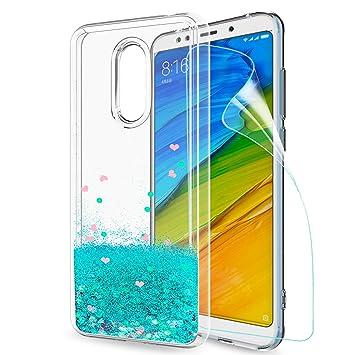 LeYi Funda Xiaomi Redmi 5 Plus Silicona Purpurina Carcasa con HD Protectores de Pantalla, Transparente Cristal Bumper Telefono Gel TPU Fundas Case ...
