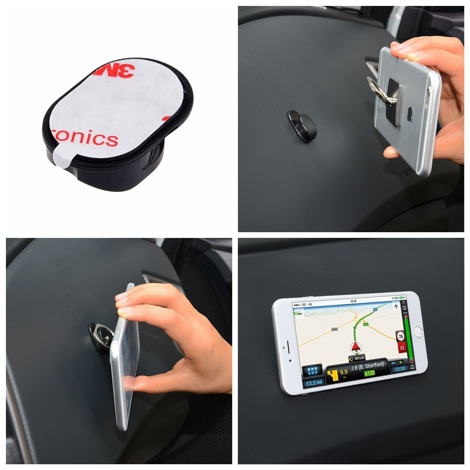 Phone Ring Grip & Stand - 2in1 - 2 Pieces, with Car Mount - For all Phones/Tablets with a Flat Rear Surface - 360 Rotate - Never Drop Your by Trenro (Image #6)