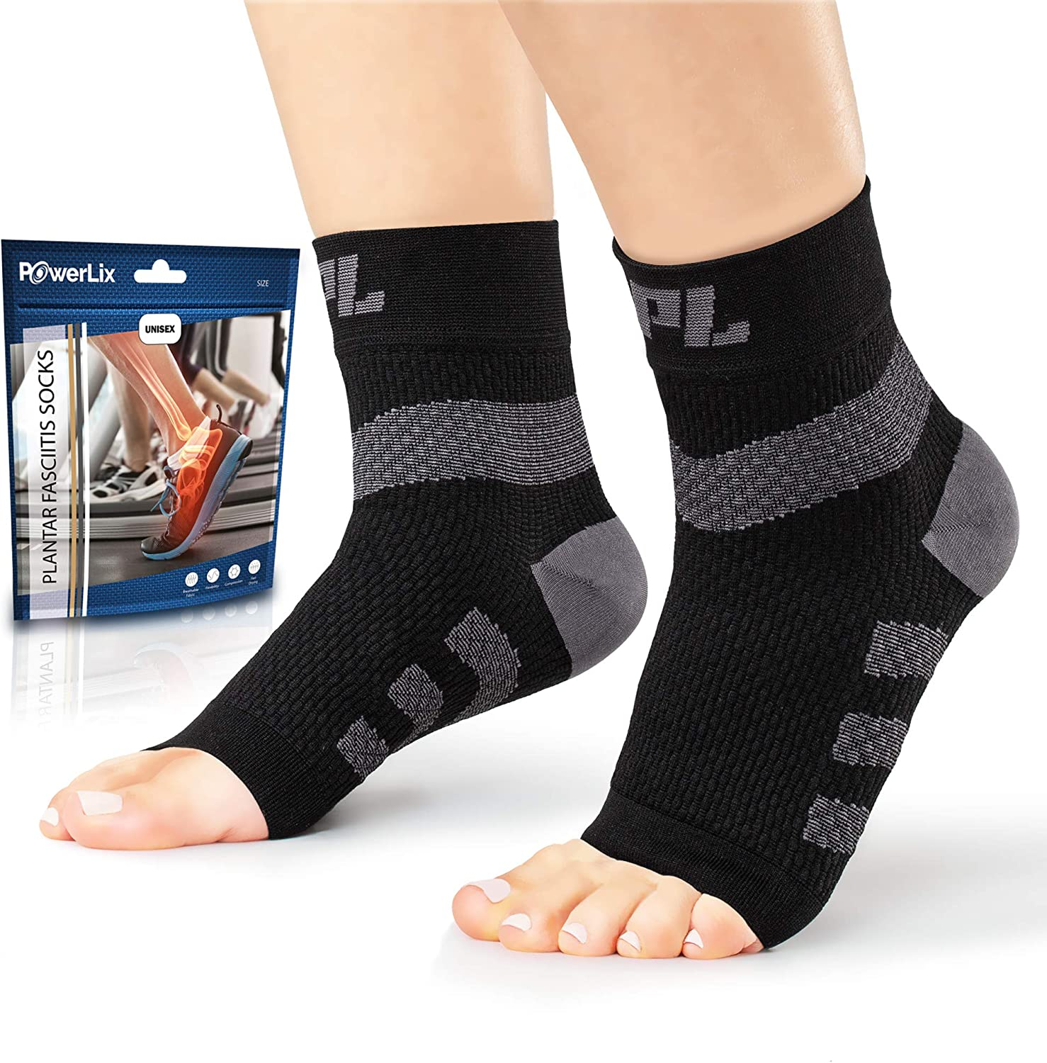 Powerlix Nano Socks (Pair) Ankle Brace for Women & Men, Ankle Support, Plantar Fasciitis Socks & Toeless Compression Foot Sleeve for Neuropathy, Arch and Heel Pain – Better Than Night Splint & Insoles: Health & Personal Care