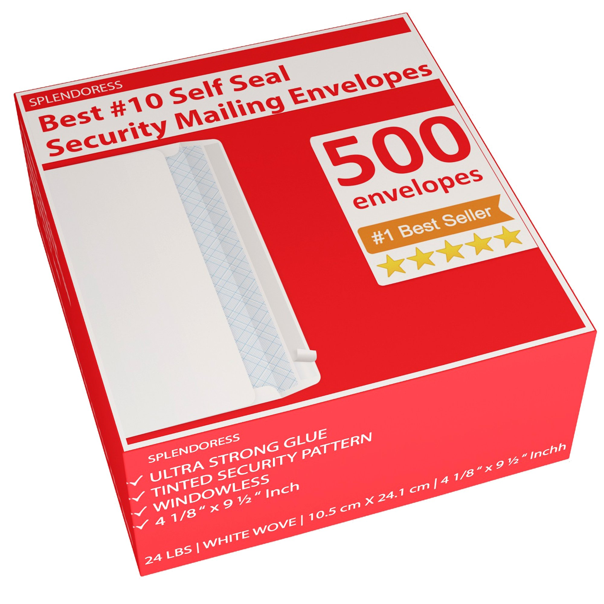 #10 White Envelopes Letter Legal Size - No. 10 Envelopes 500 Count Bulk - Security Mailing Strip & Self Stick Seal - Business Tinted Windowless Envelopes 4 1/8 in. x 9 1/2 in - Secure Invoice Mailing