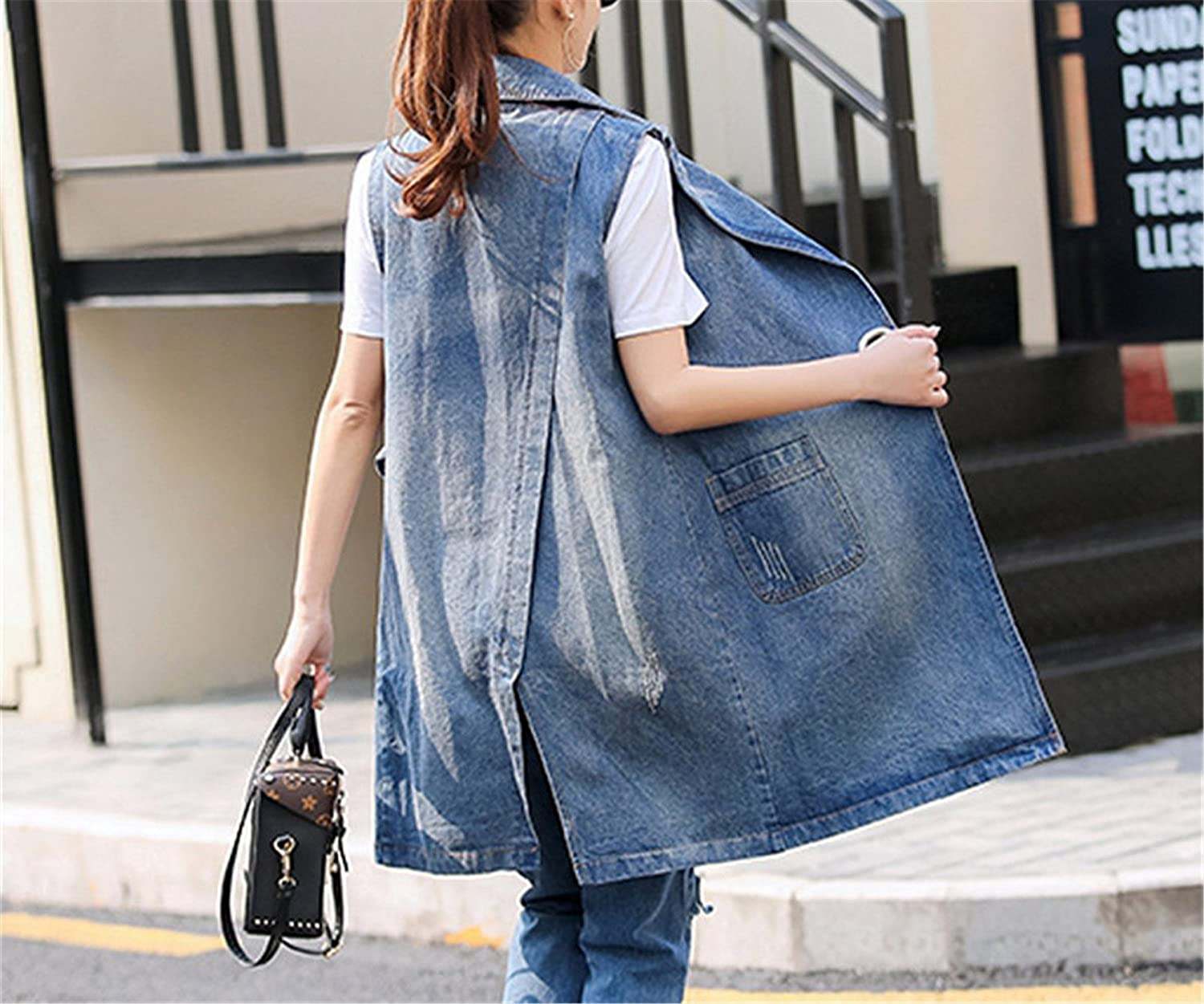 Bust (100-130Cm) S-3Xl Plus Size Summer Jacket Sleeveless Cardigan Ladies Jeans Waistcoats Long Denim Vest Women Blue XXXL at Amazon Womens Coats Shop