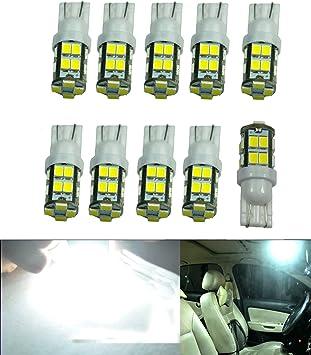 JDM ASTAR 2x Super White T10 Wedge 5730 10-SMD LED Lights Bulbs 194 168 2825 W5W
