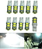 Cutequeen Trading 10pcs LED Car Lights Bulb White T10 2835 20-smd 400 Lumens 194 168 (Pack of 10)