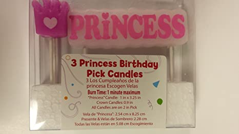 Amazon.com: Way to Celebrate Princess Pick Candles: Home ...