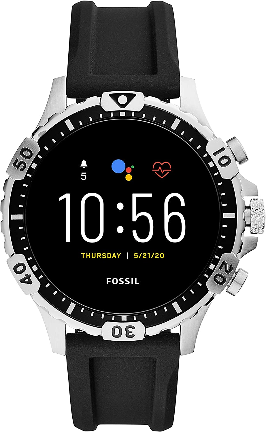 Fossil Gen 5 Garrett Stainless Steel Touchscreen Smartwatch with Speaker, Heart Rate, GPS, NFC, and Smartphone Notifications