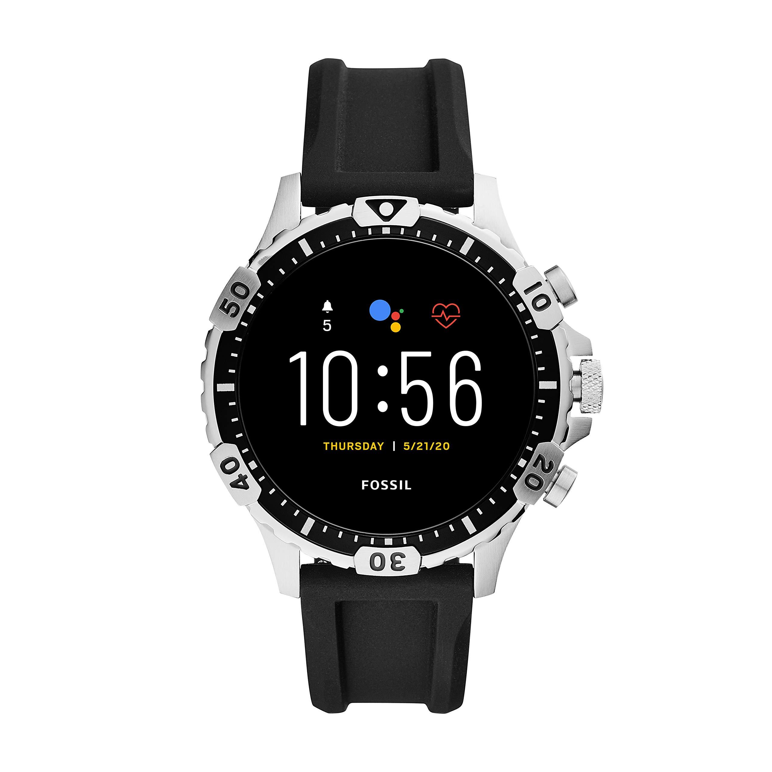 Fossil Gen 5 Garrett HR Heart Rate Stainless Steel Touchscreen Smartwatch, Color: Gunmetal (Model: FTW4041)