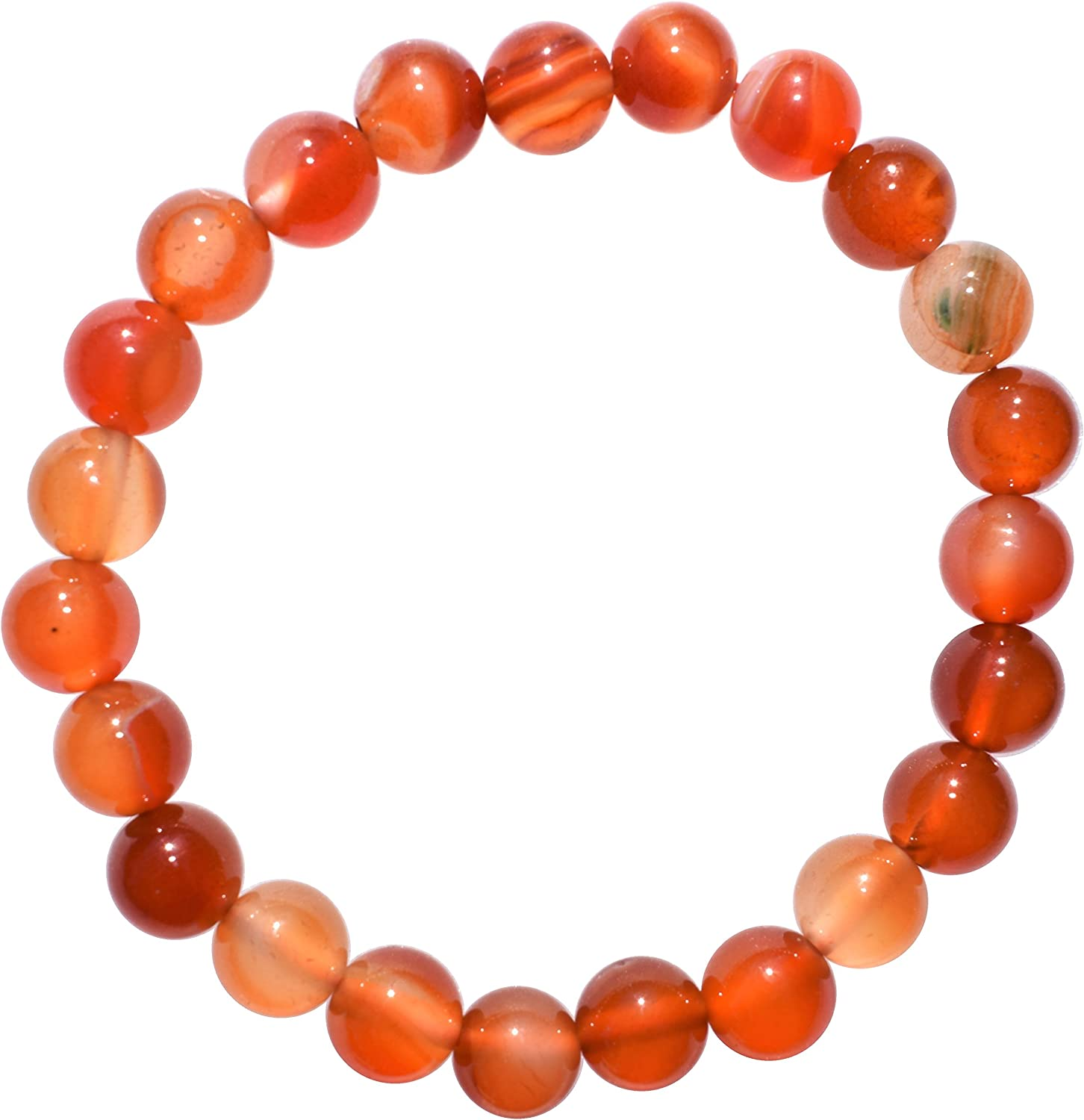 Zenergy Gems Charged Natural Premium Carnelian Agate 8mm Bead Stretchy Bracelet + Selenite Heart Charging Crystal Included