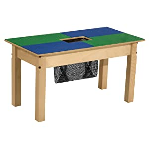 "Wood Designs - TP1631SGN16-BG Time-2-Play Lego Compatible Wood Table with Storage for Kids/Toddlers, Blue/Green, 16.5"" Legs"