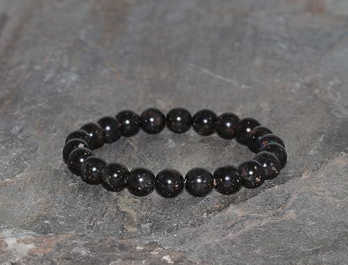Black Opal Genuine Bracelet ~ 7.5 Inches  ~ 8mm Round Beads
