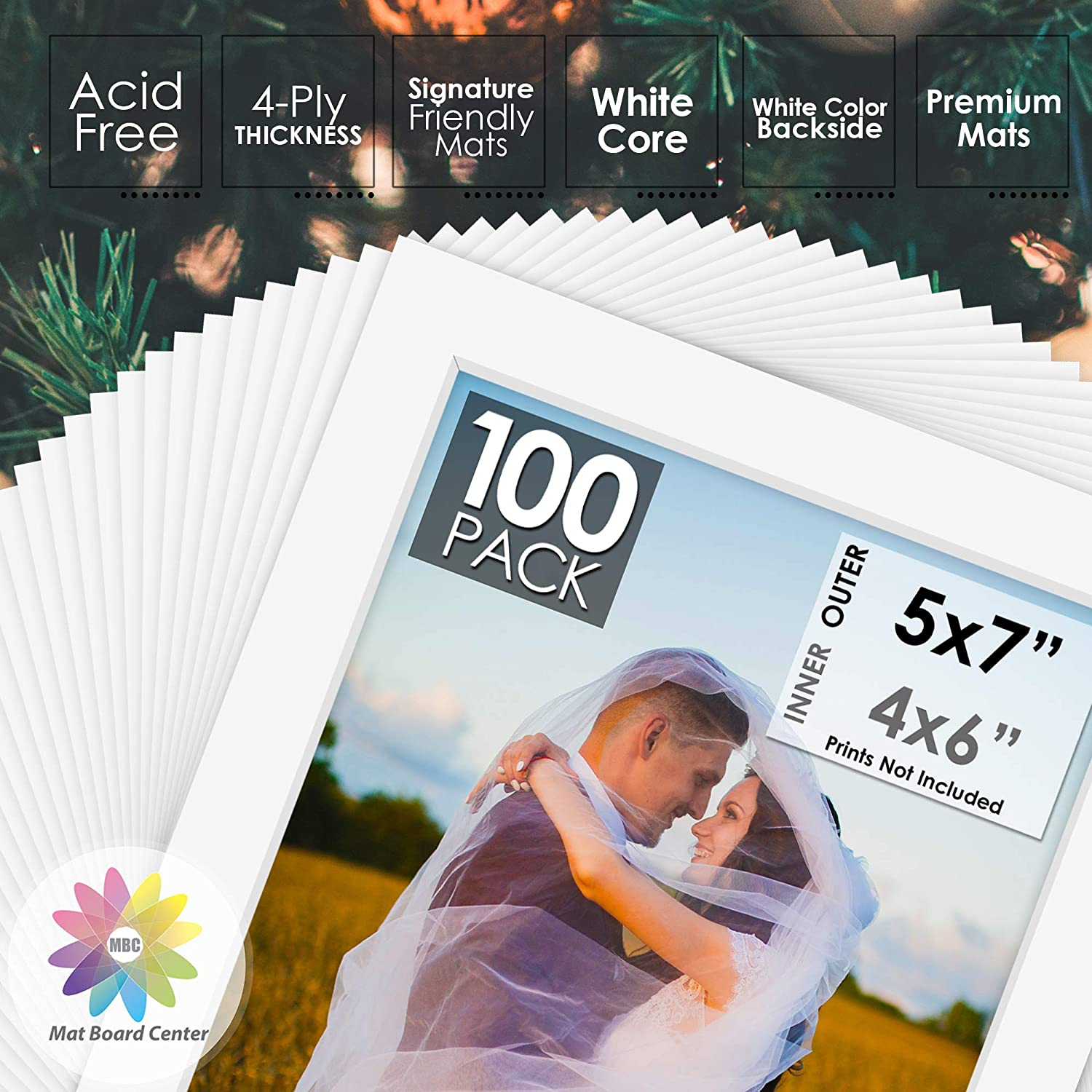 Pack of 200 5x7 BLACK Picture Mats Mattes with WHITE Core for 4x6 Photo