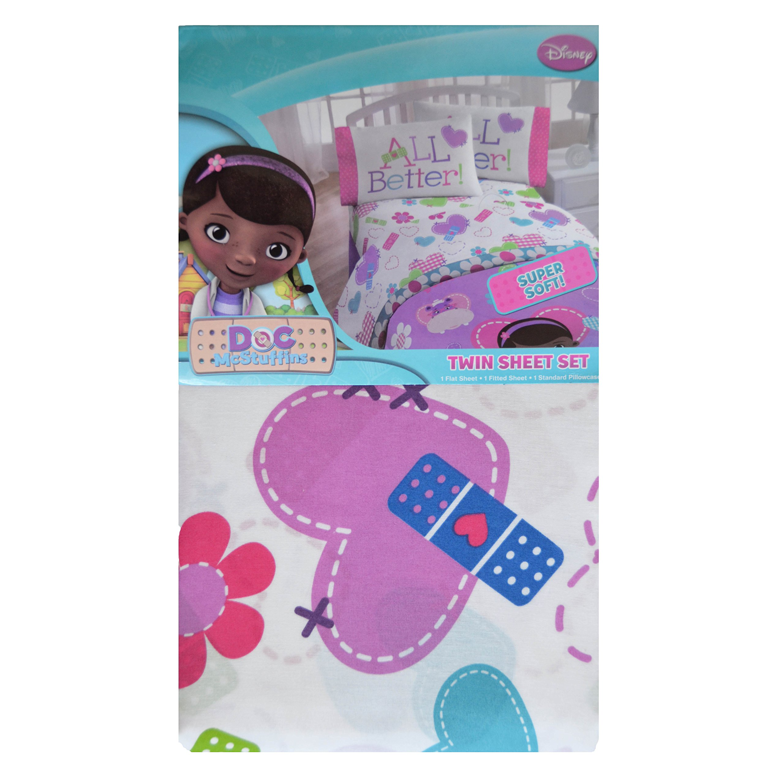 Jfranco Doc McStuffins Twin Bed Sheet Set: Cotton Rich, One Pillow Case, Fitted and Flat Sheet
