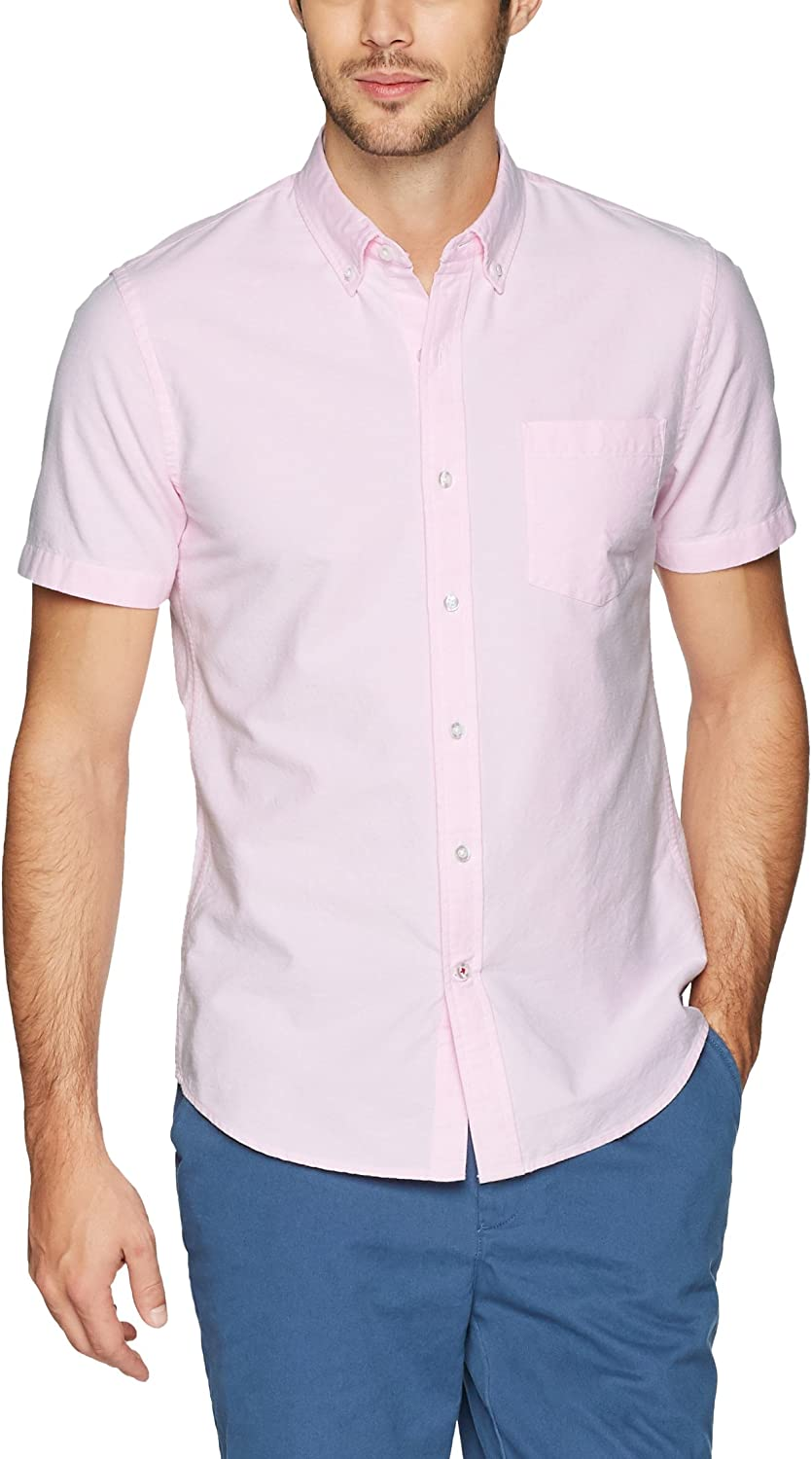 Brand - Goodthreads Men's Slim-Fit Short-Sleeve Solid Oxford Shirt with Pocket: Clothing