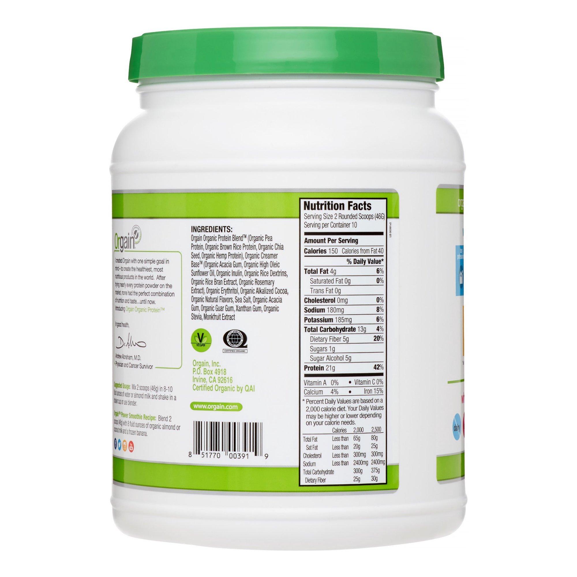Orgain Organic Plant Based Protein Powder, Creamy Chocolate Fudge, 1.02 Pound, 4 Count