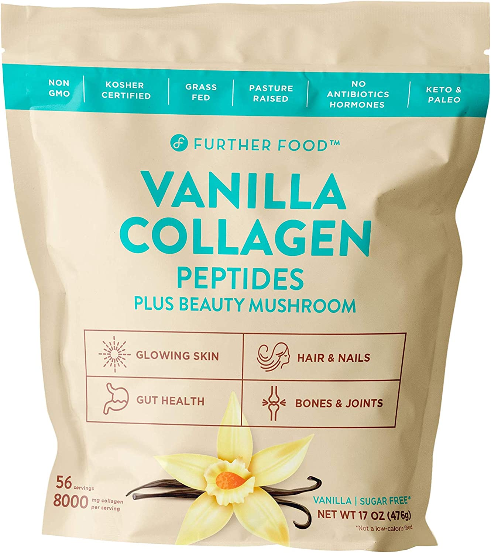 Vanilla Collagen Peptides Powder Supplement Plus Reishi Mushroom - Grass Fed Pasture-Raised Type 1 & 3 Premium Collagen, 56 Servings